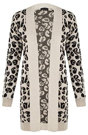 caf35f805c5 Image Unavailable. Image not available for. Color  Girls Walk Women s Long  Sleeves Leopard Print Knitted Cardigan Top