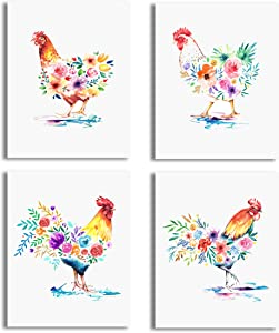 Vogue Homes Rooster Chicken Prints - Set Of 4 (8x10) Unframed Chicken & Rooster Farm Animal Decor & Country Wall Decor Pictures For Home & Farm Kitchen Decor