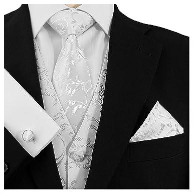 b2ebacf42bb7 GASSANI 3- Set Weiße Krawatte   Einstecktuch Manschettenknöpfe-Binder  Schmale Kravatte zum Anzug Verlobung