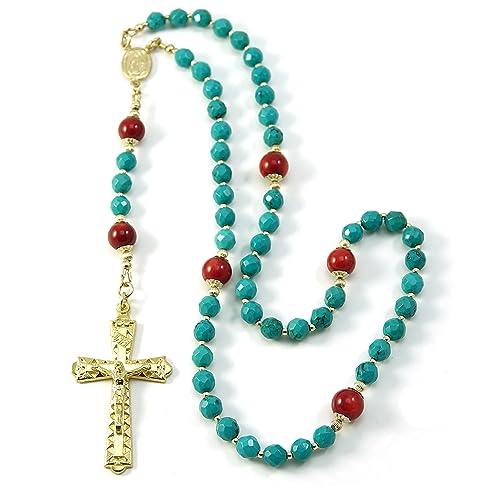 Amazon com: Silver Inches Catholic Prayer Beads Turquoise