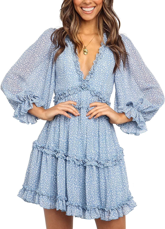 SUPERSUN Bohemian Ruffled Floral Print Mini Dress Long Sleeve V Neck Backless Boho Dresses Women for Casual Party Wedding