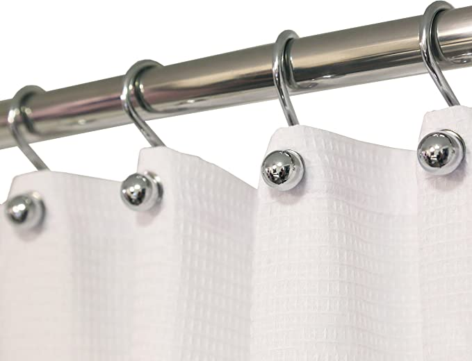 Amazon Com Hermosa Collection Luxury S Shower Curtain Hooks 12 Pack Hotel Quality Silver Chrome Finish Bathroom Accessories Rustproof Non Slip Ball End Easy To Hang Home Kitchen