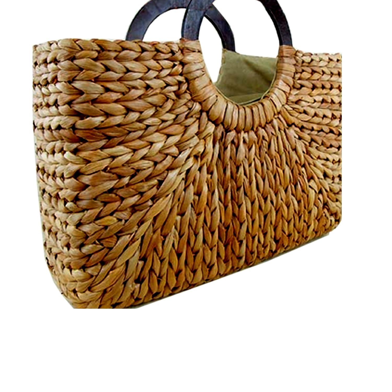 f4f92b1b Straw Rattan Women Tote Summer Beach Handbag Picnic Basket Natural Bag  Medium Size 15.5'x15' US Seller