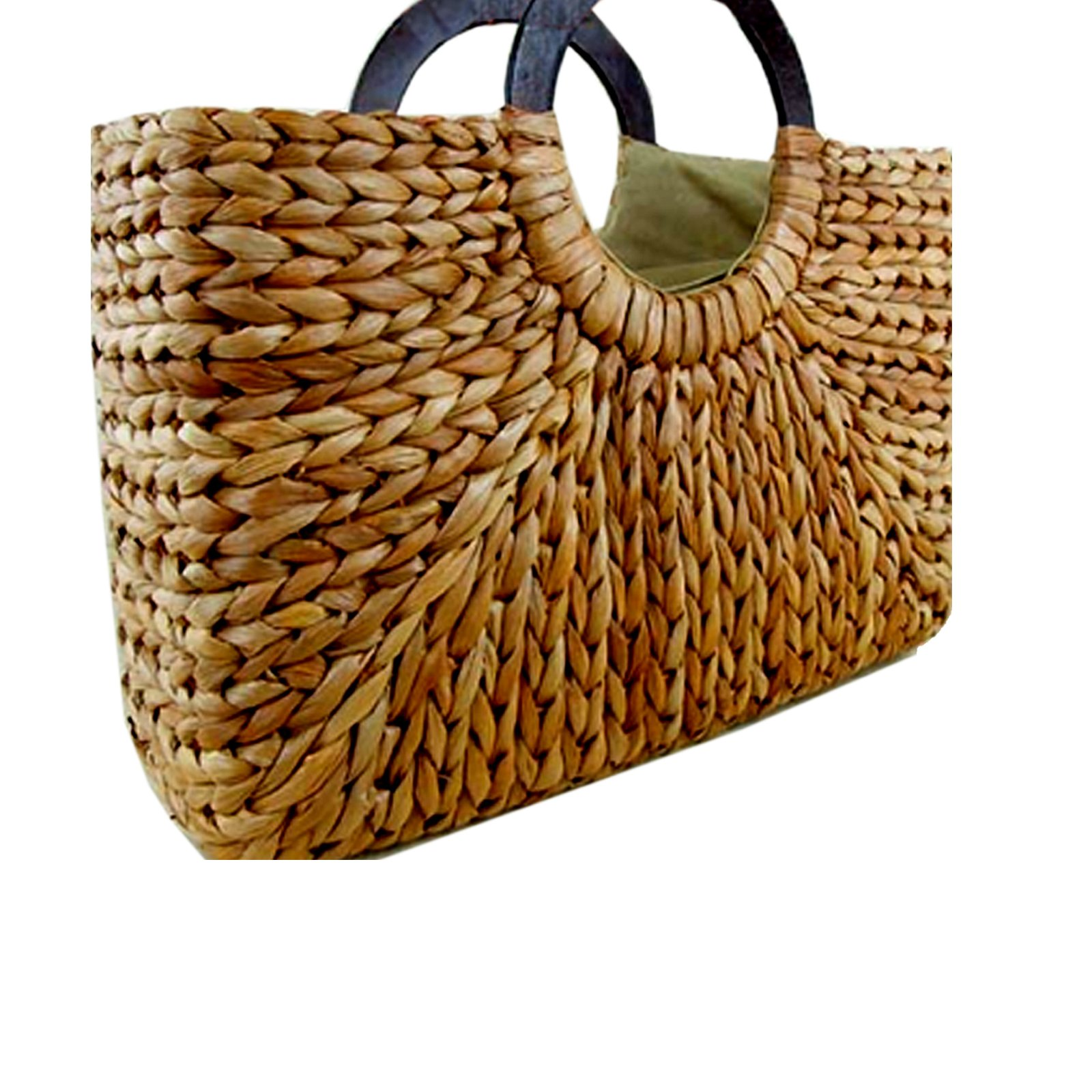 Straw Rattan Women Tote Summer Beach Handbag Picnic Basket Natural Khaki Bag Medium Size 15.5'x15' US Seller (Natural)