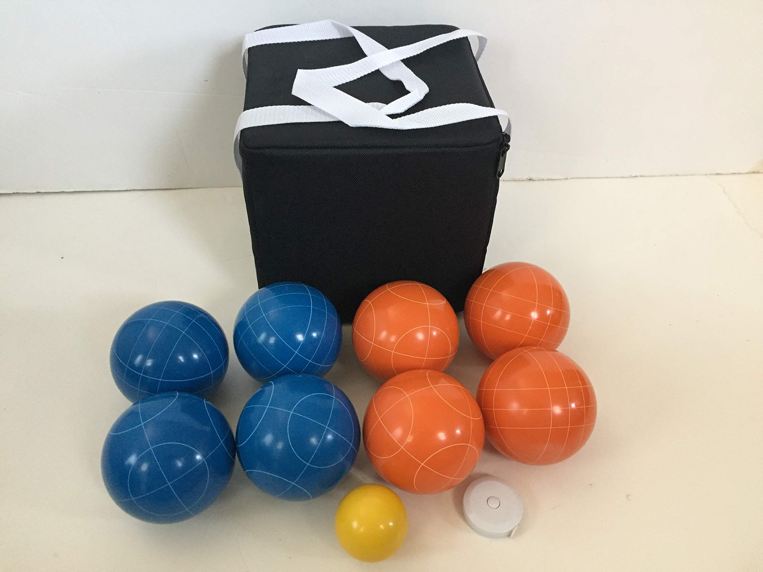 New Listing - (15 of 28) Unique Bocce Sets - 107mm with Orange and Blue Balls, Black Bag by BuyBocceBalls