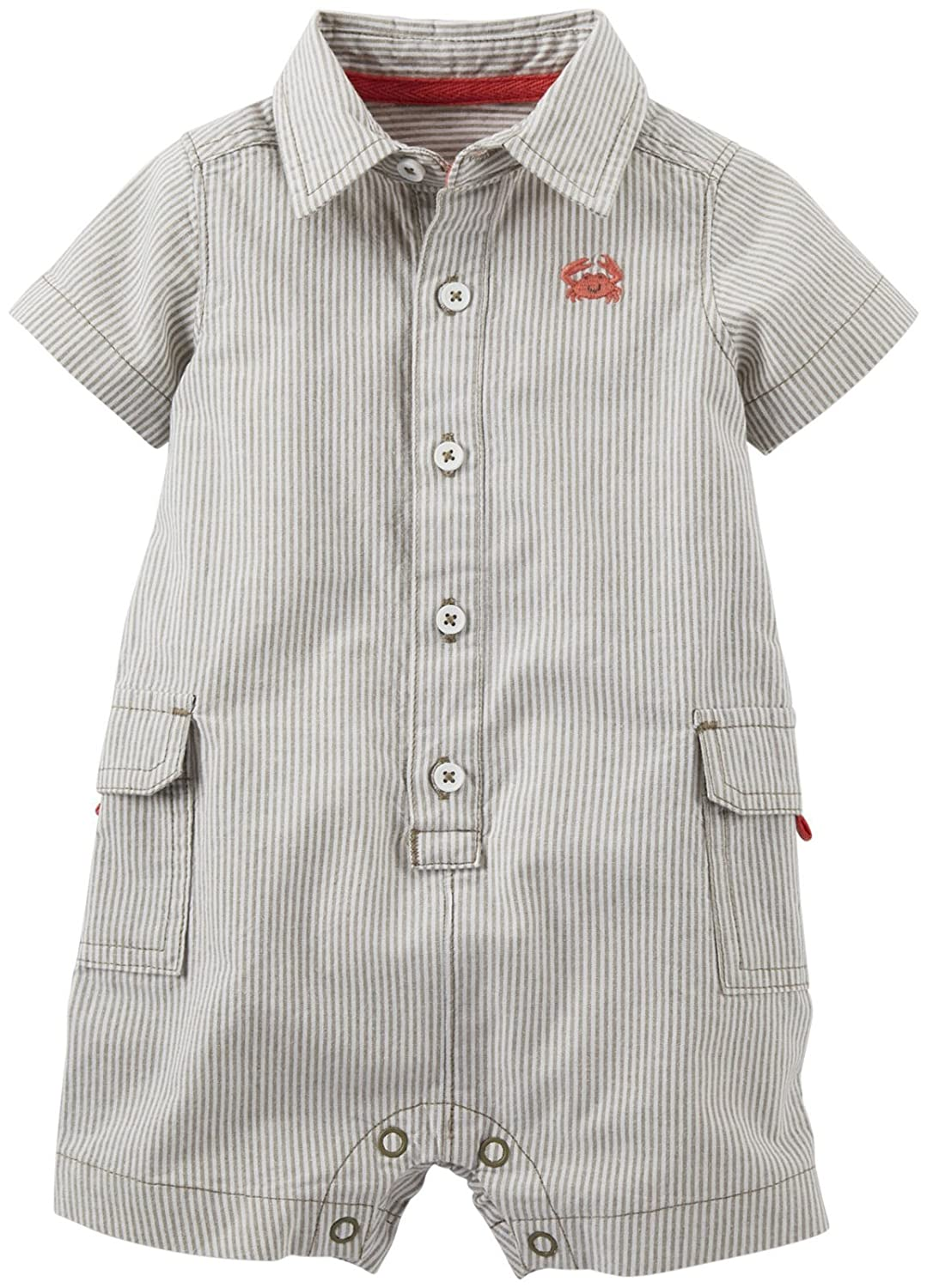 - Brown Carters Baby Boys Woven Romper Baby 6 Months