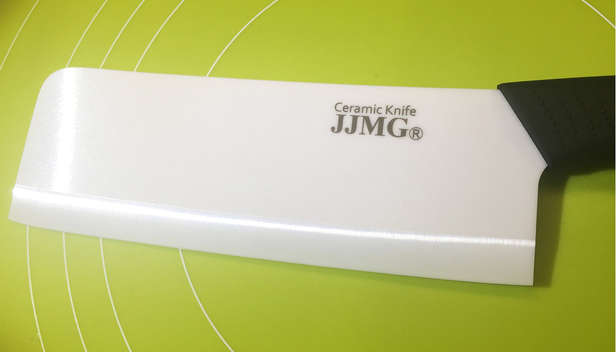 JJMG Ceramic Meat Cleaver Knife Sharp Durable Twice Thicker than Leading Brands non-slip grip Handle Zirconium Blade Cut Slice Dice Steak Pork Chicken Cheese Rust Wear Resistance 3 SHARP & DURABLE LONG LASTING SHARPNESS: Perfect for Cutting Slicing Mincing & Dicing Meat Cheese and Vegetables. Made of High Quality Ceramic, 60 times more Wear-Resistant than Metal knifes. Easy to Maintain, Holds its Sharp Edge. The knifes blades are made by Zirconium, only diamonds are harder, and stays sharp 15 times longer. NO RUST & BPA-FREE: Rust Resistant, Anti-acid and Alkali Material, Non-toxic, No Contamination, No Metal smell, Easy to Use. will retain its original sharpness up to 15 times longer than steel blades. You will never need sharpening any more! NO OXIDATION: Keep your vegetables free from oxidation when cutting with these ceramic knifes. Keep your vegetables meat & food fresh for a longer period of time.