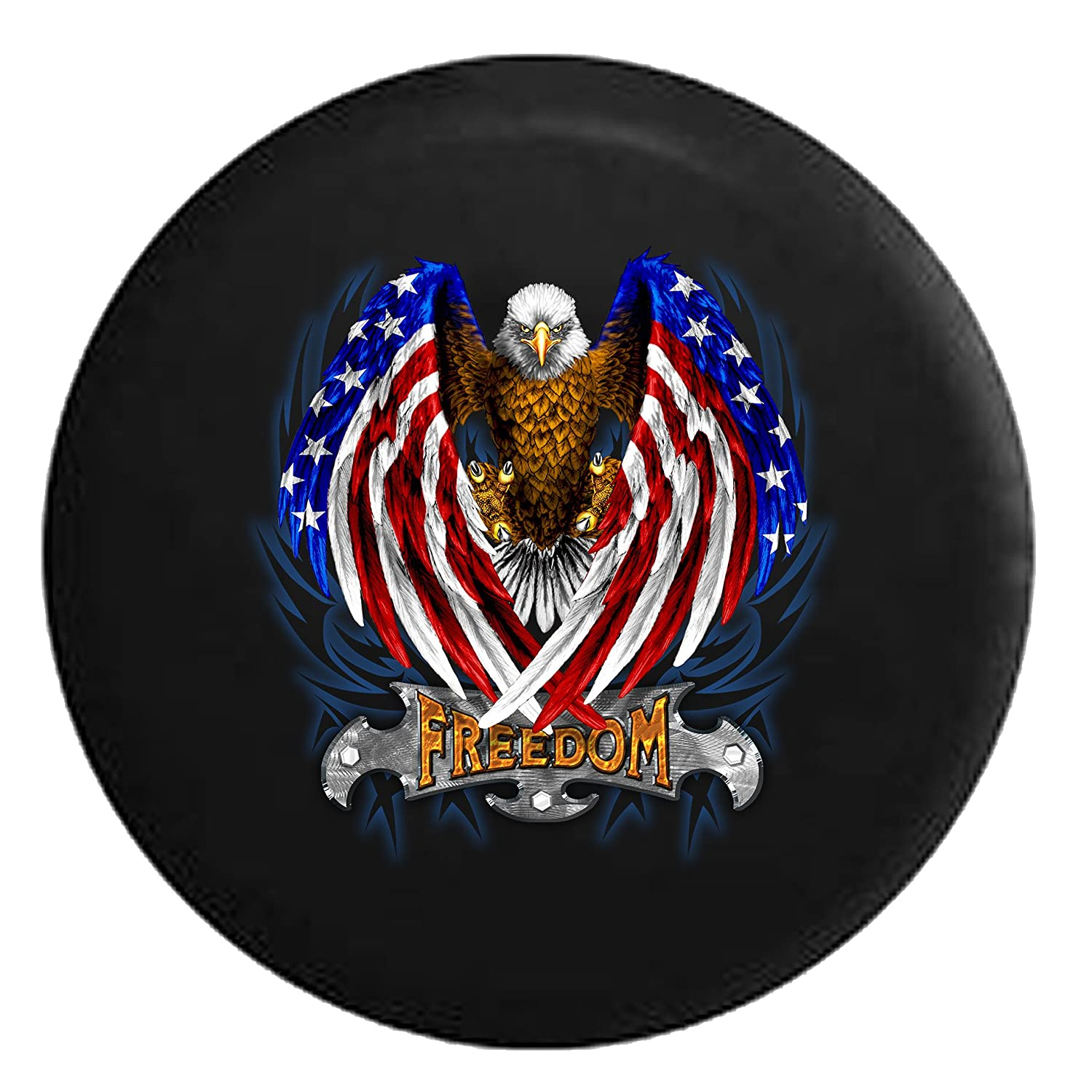 White American Bald Eagle in Red and Blue Freedom Crest and Black /& Blue TribalSpare Tire Cover Black 32 in Pike Outdoors
