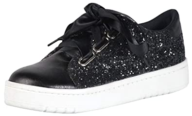 7592f3d3878 GRAN TURISMO - Womens Fashion Sneakers Low Tops Lace Up with Platform Soles  Black Glitter with Black Ribbon Laces Casual Sports for Teens