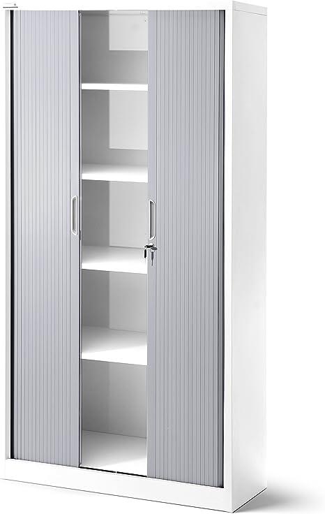 Armario de persiana T001, armario universal para archivadores, para despacho, armario con persiana transversal, con puertas correderas, con cerradura, 185 cm x 90 cm x 45 cm (blanco/gris): Amazon.es: Hogar
