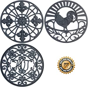 Silicone Trivet Set For Hot Dishes, Pots & Pans. These Modern Kitchen Hot Pads come in 3 Different Country Decor Designs that Mimics Vintage Cast Iron Trivets. 7.5 inch Round, Set of 3, Dark Gray