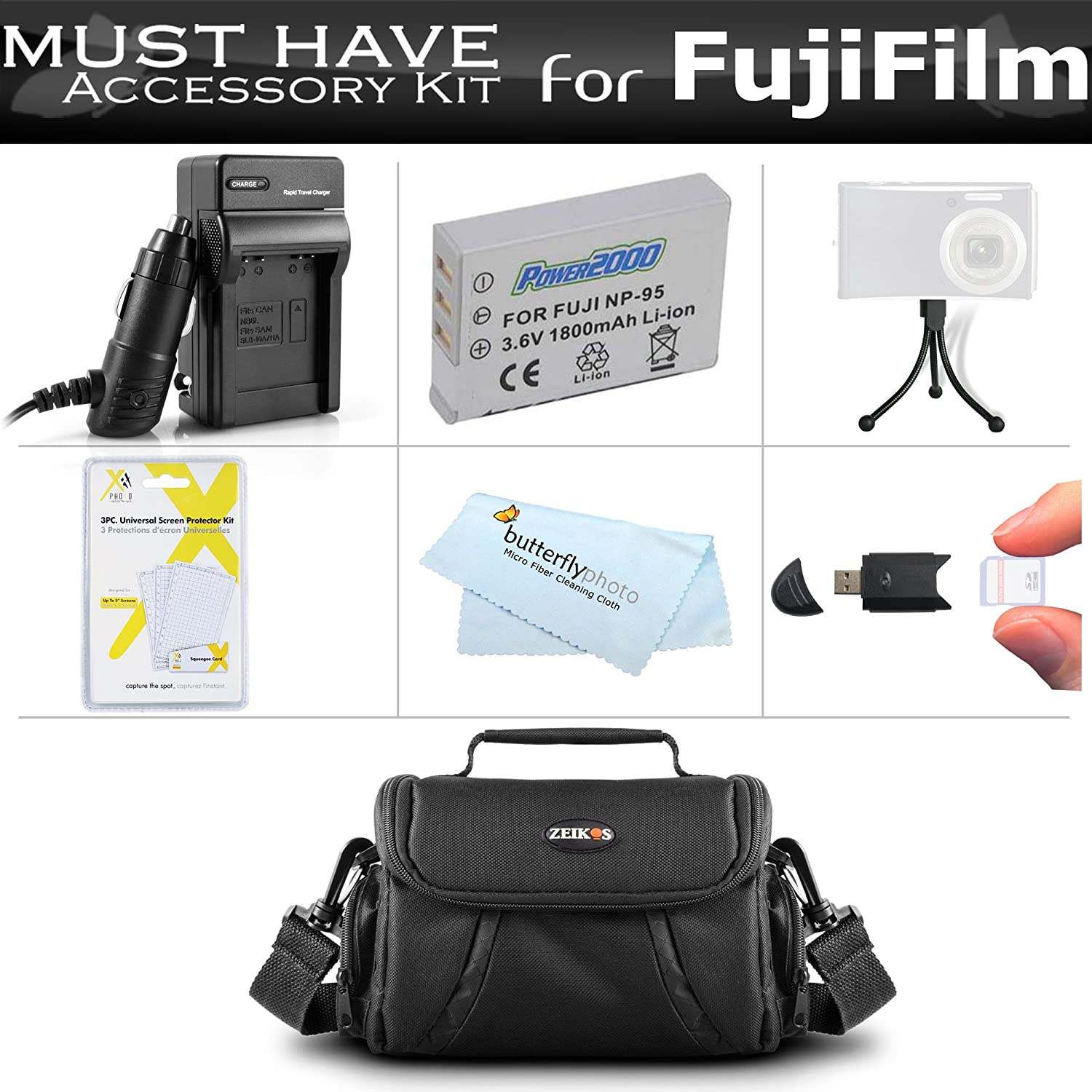 479f10a0 Must Have Accessory Kit for Fuji Fujifilm X70, X30, X100, X100S, X100T  Digital Camera Includes Extended Replacement (1800maH) for Fuji NP-95  Battery + Ac/Dc ...