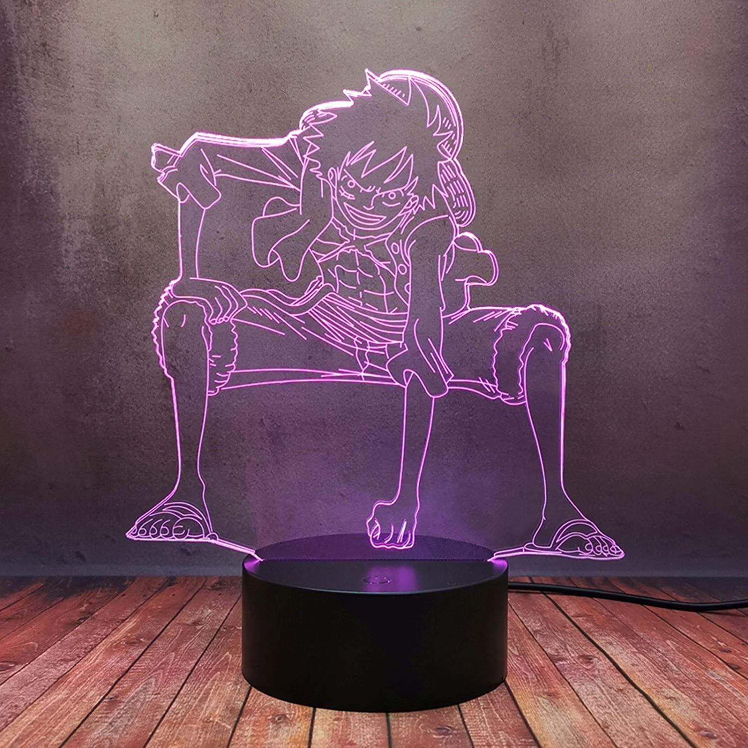 Lampara Led 3D - Anime One Piece ( Luffy)