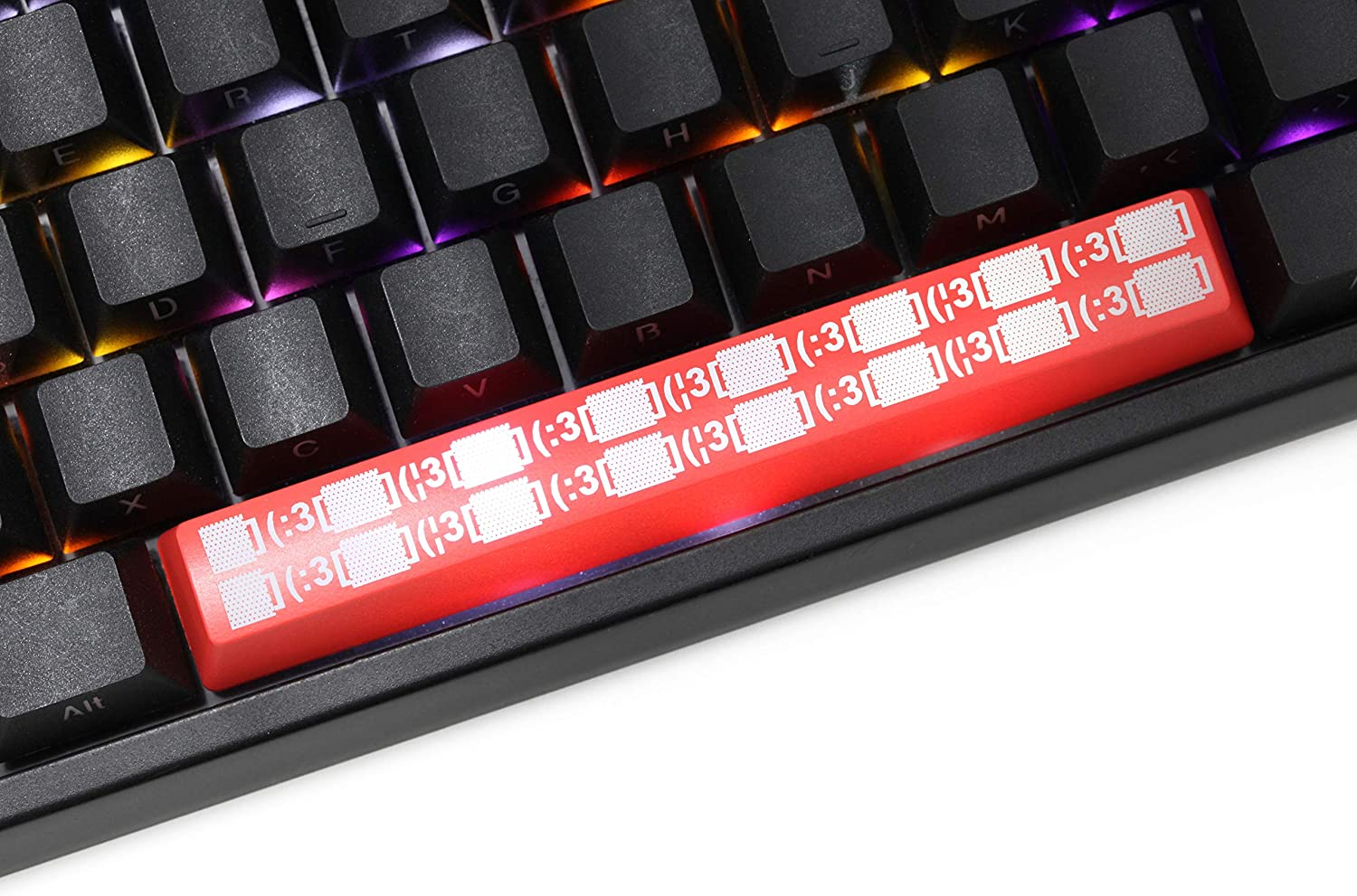 Novelty Shine Through spacebar Keycaps ABS Etched Black red Custom Mechanical Keyboards Light Dormitory Sound Asleep icon Red Spacebar Dor x1