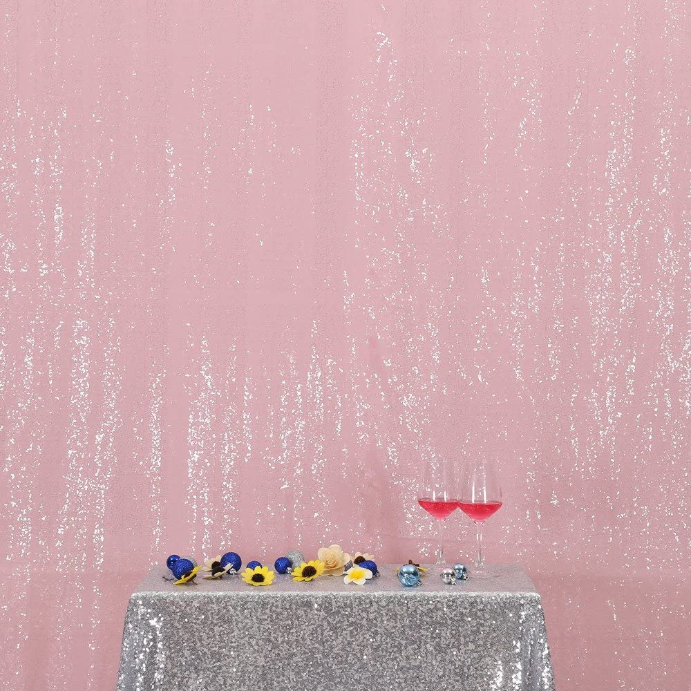 PartyDelight Sequin Backdrop Wedding Curtain Special Events, Party, Pink, 6FTx6FT