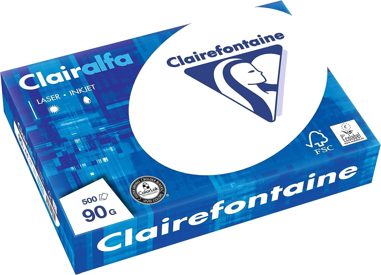 Clairefontaine - Pack de hojas, Blanco, A4, 500 hojas, 90 g/m2
