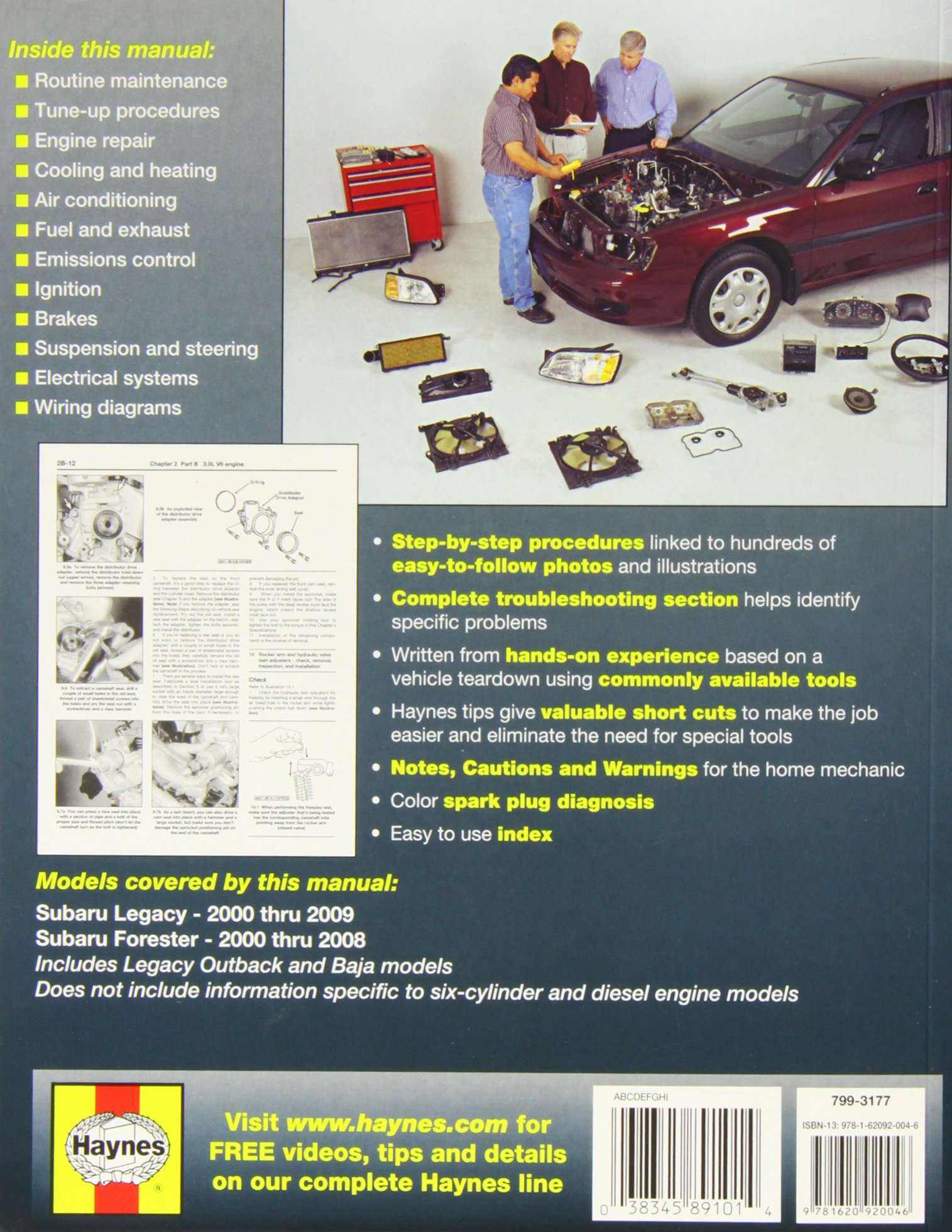 Subaru Legacy Forester 2000 09 Haynes Repair Manual Paperback 2008 Chrysler Pt Cruiser Engine Diagram Publishing 0038345891014 Books