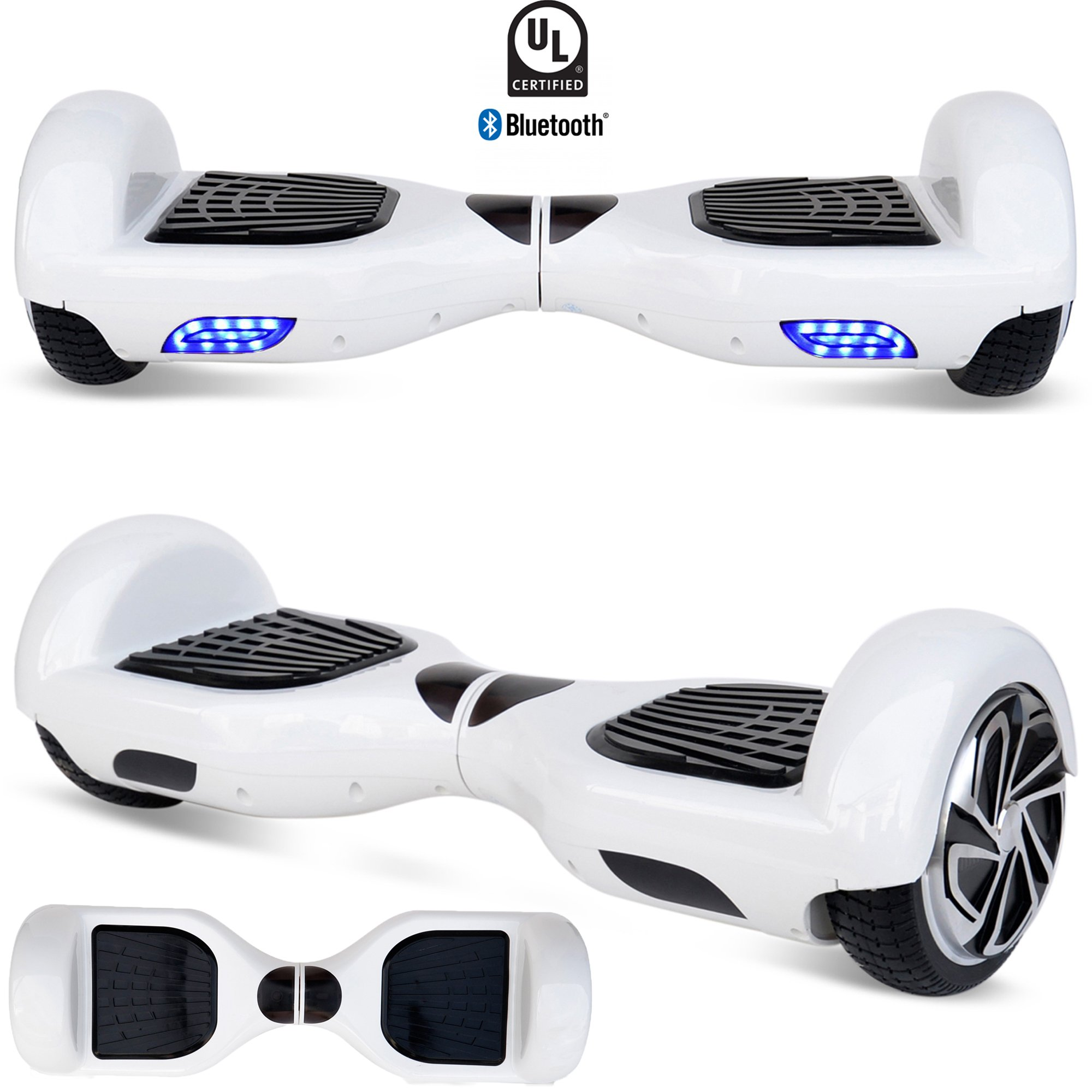 6.5'' HoverBoard Electric Scooter Smart Self-Balancing Wheels Hover Board With Built-in Bluetooth Speaker UL2272 Certified (White)