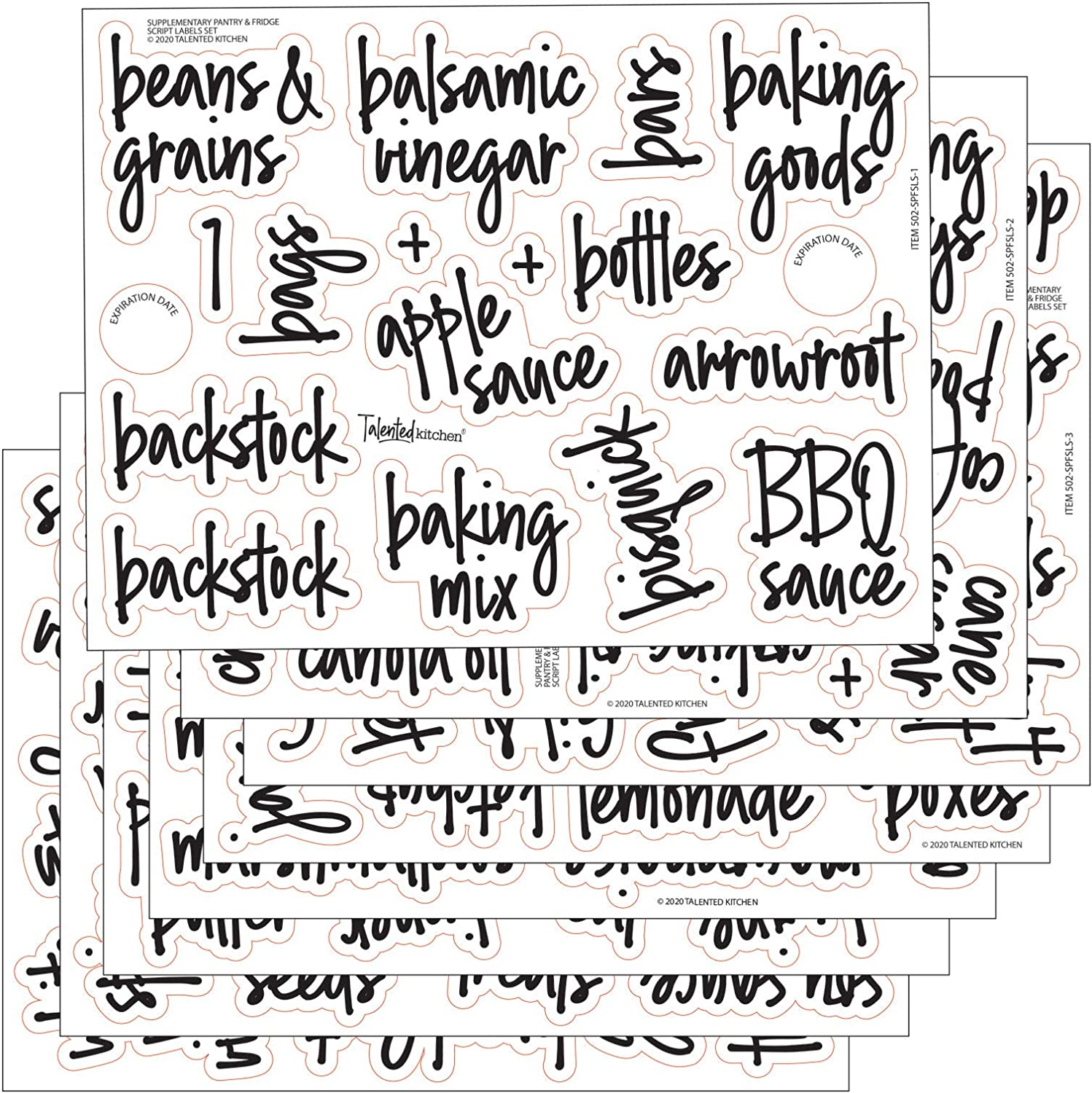Talented Kitchen 158 Script Supplementary Pantry & Fridge Labels – Black Pantry Label Sticker Ingredients. Water Resistant, Food Jar Labels Decals Pantry Organization Storage