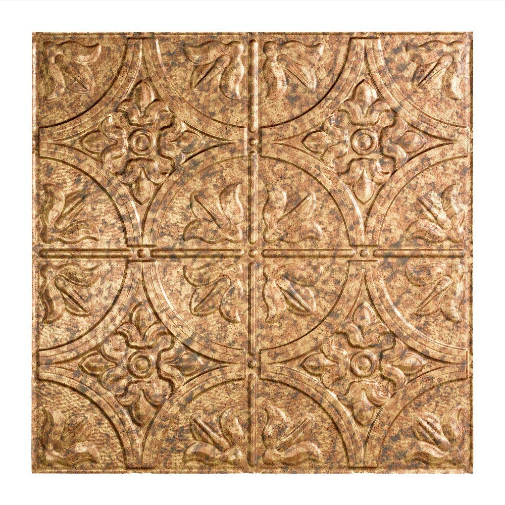 Fasade Easy Installation Traditional 2 Cracked Copper Lay In Ceiling Tile / Ceiling Panel (2' x 2' Tile)