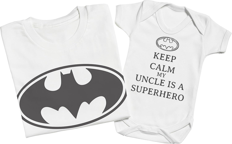XXL /& 12-18 Monate Keep Calm My Uncle is A Superhero Passende Onkel Baby Geschenk-Set Herren T-Shirt /& Baby Strampler