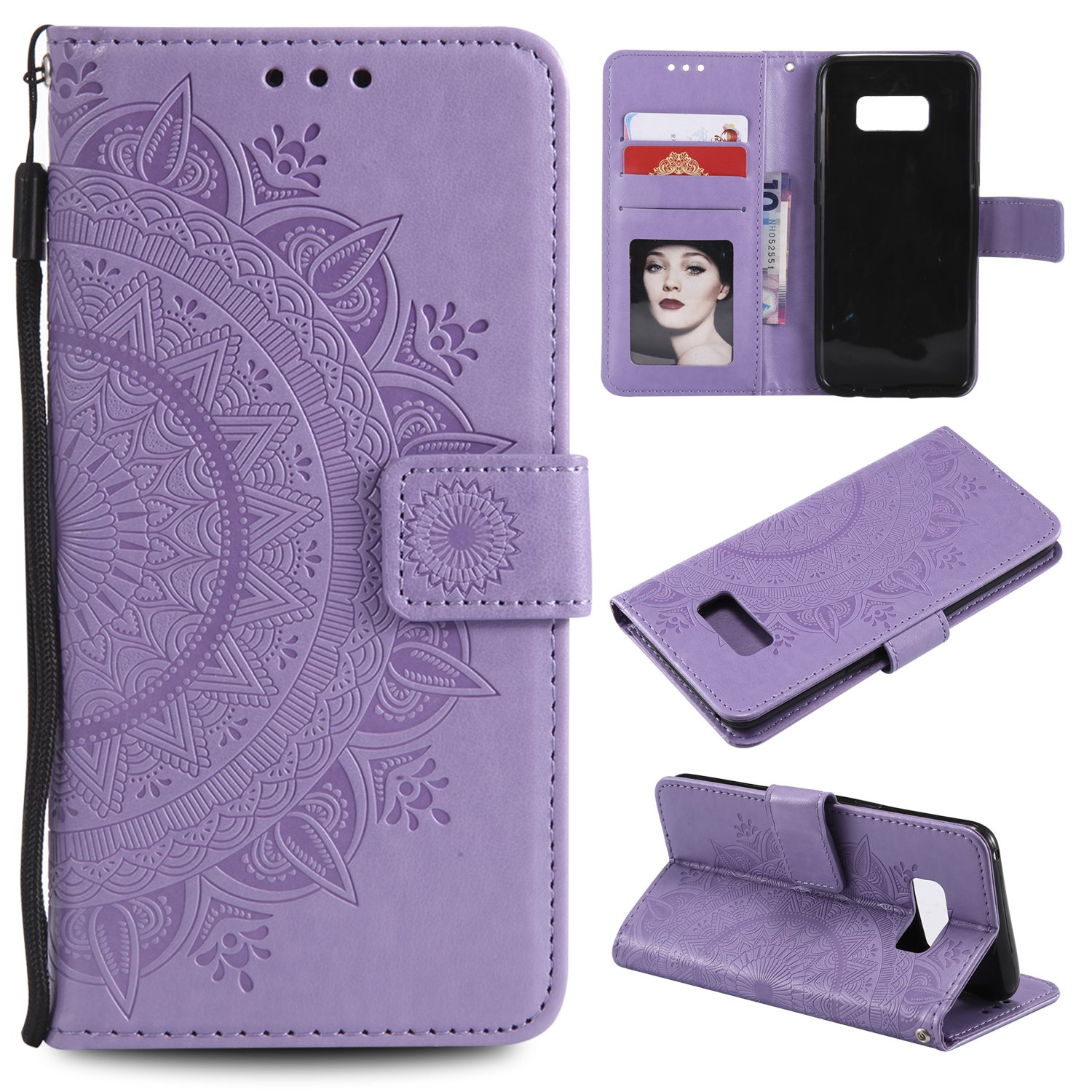 Galaxy S8 Plus (S8 +) Floral Wallet Case,Galaxy S8 Plus (S8 +) Strap Flip Case,Leecase Embossed Totem Flower Design Pu Leather Bookstyle Stand Flip Case for Samsung Galaxy S8 Plus (S8 +)-Purple