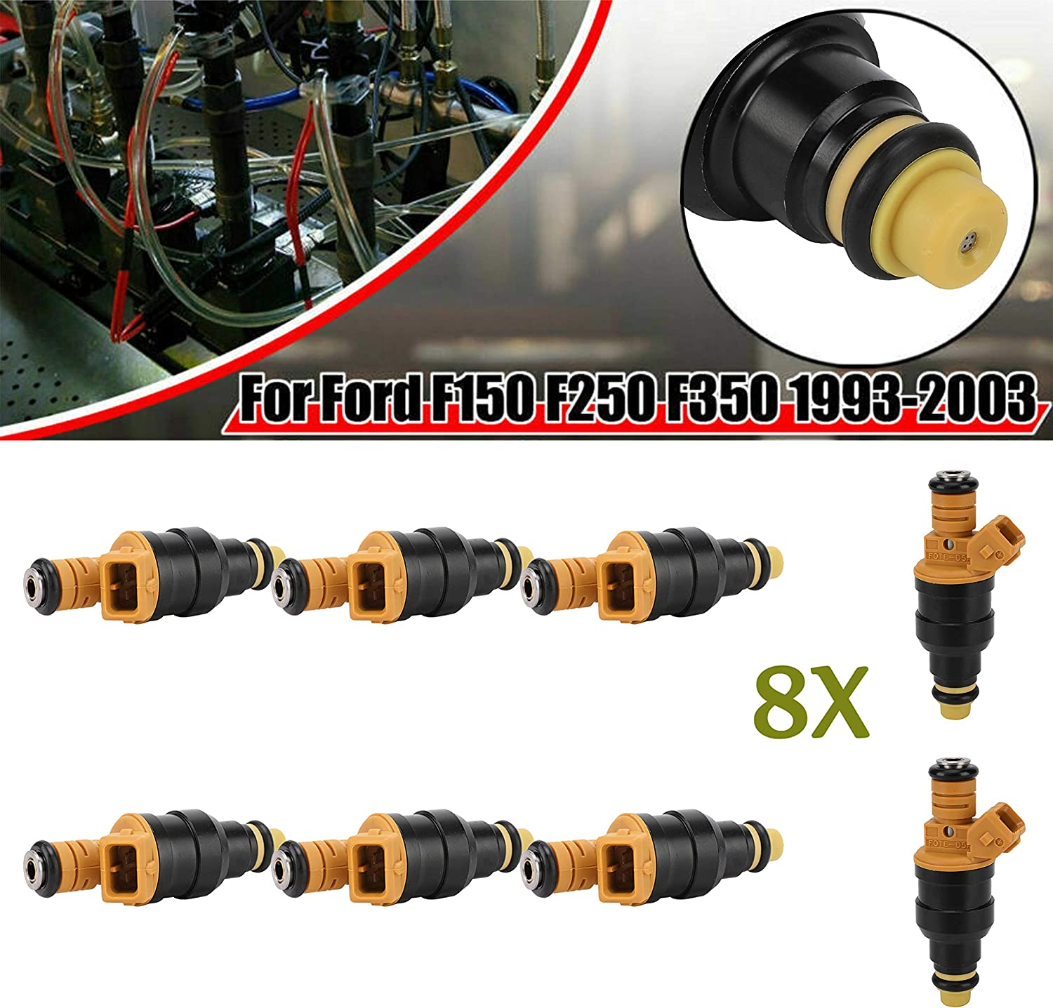 8 Pack Fuel Injectors,8PCS Fuel Injector Set,Replaces 0280150556 0280150943,for Ford F150 F250 F350 E150 E250 Mustang Expedition Lincoln Mercury /& More,