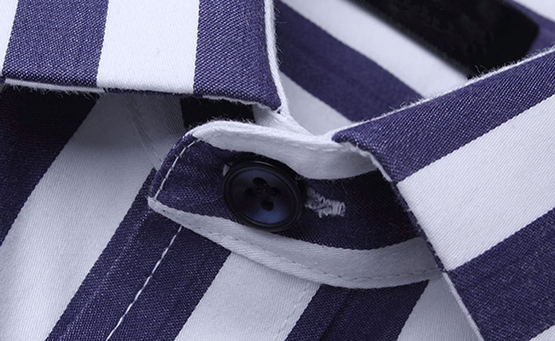 Youhan Mens Long Sleeve Slim Fit Striped Shirt Business Dress Shirt