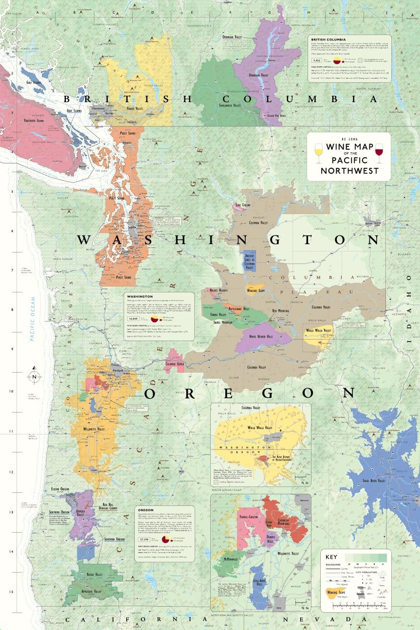 Map Of Pacific Northwest Wine Map of the Pacific Northwest: Steve De Long: 9781936880133