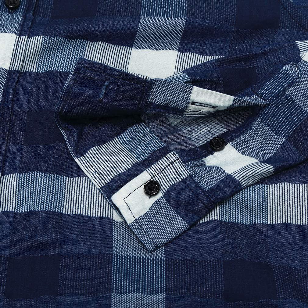 FaiSky Mens Slim-Fit Long-Sleeve Casual Button Down Plaid Shirt, Dark Blue