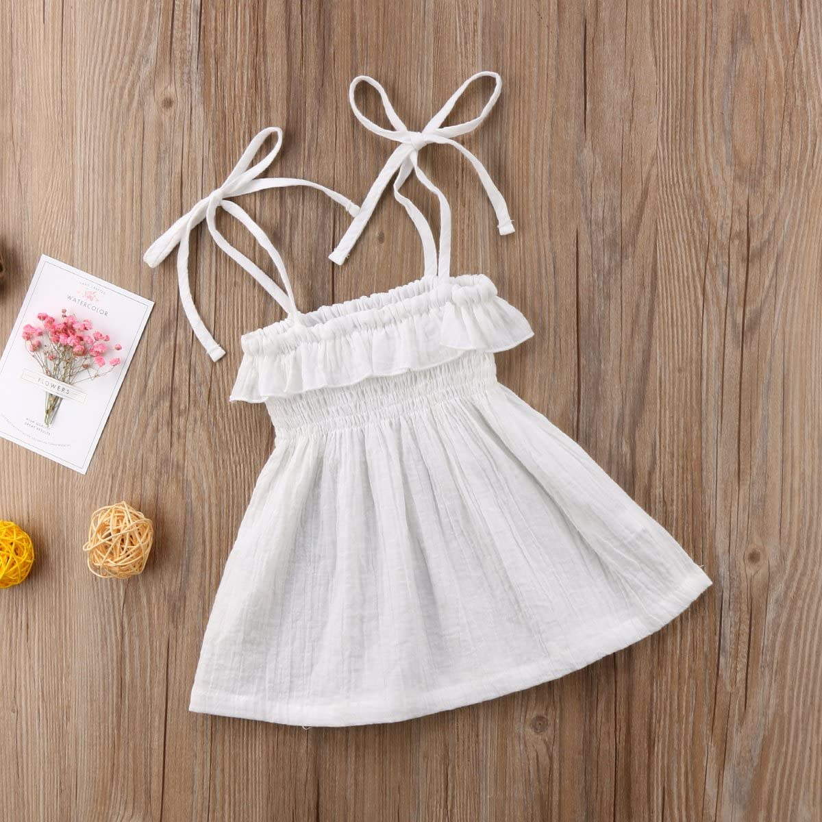 Enhill Summer Toddler Infant Baby Girl Sleeveless Ruffle Princess Beach Dress Suspender Skirt
