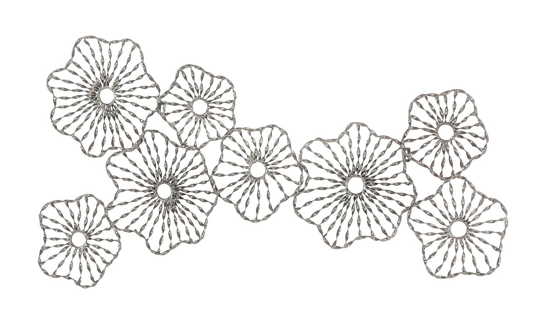 Deco 79 22637 Flower Metal Wall Decor 12 x 32 Black//Brass//Silver Set of 2