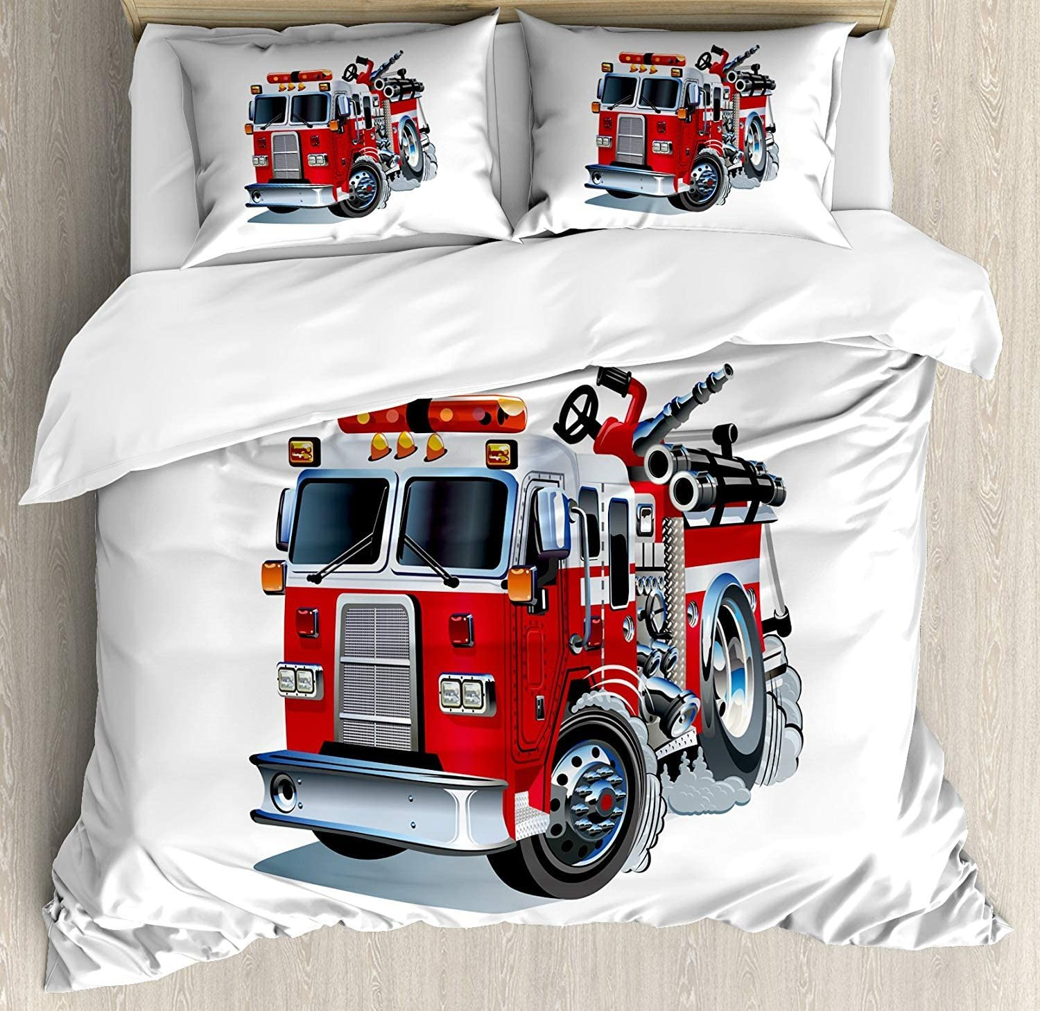Truck 4 Piece Bedding Set,Fire Brigade Vehicle Emergency Aid for Public Firefighter Transportation Themed Lorry,Duvet Cover Set Comforter Cover for Childrens/Kids/Teens/Adults,Grey Red Full Size