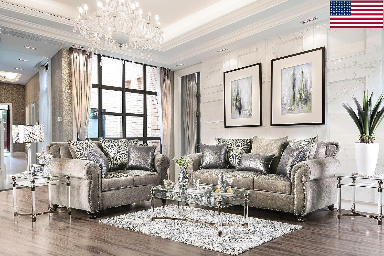 Amazon.com: Esofastore Luxurious Look Living Room Furniture 2pc Sofa ...