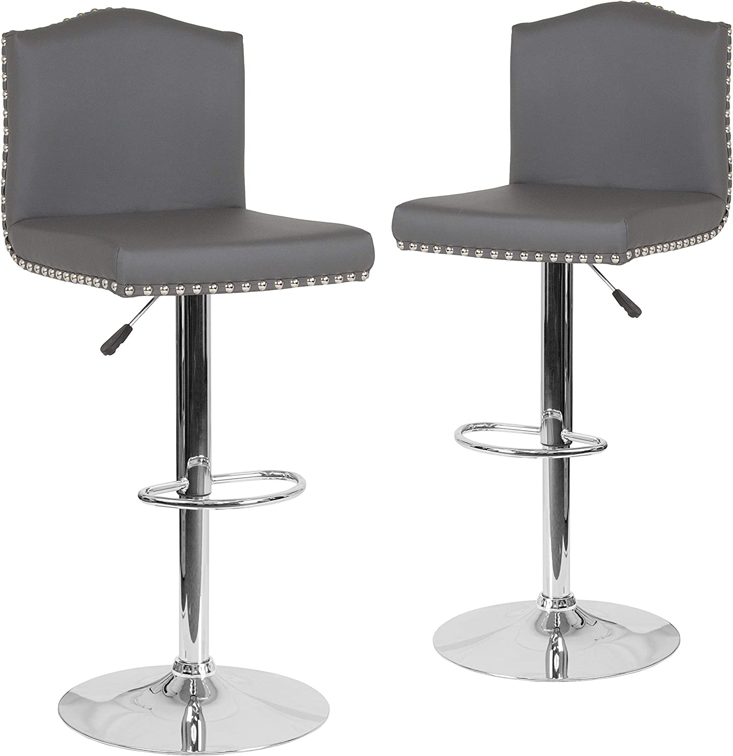 Flash Furniture 2 Pk. Bellagio Contemporary Adjustable Height Barstool with Accent Nail Trim in Gray LeatherSoft