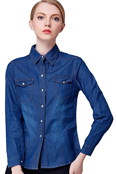 f6fb6ed214 Youhan Women s Casual Vintage Fitted Long Sleeve Cotton Denim Shirt  (X-Small