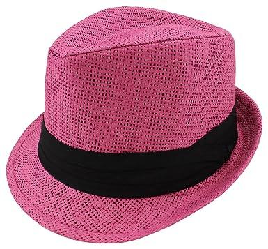 f3efde58598f1 Enimay Kid s Children s High End Fedora Hat Formal Wedding Event Attire  Straw Hot Pink Small