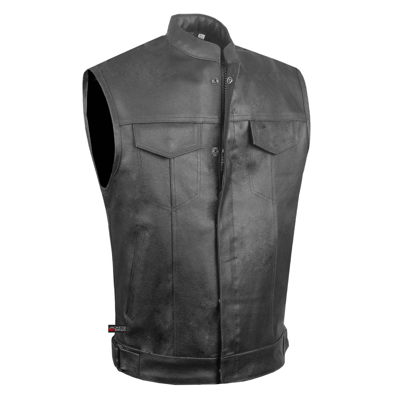 SOA Men's Leather Motorcycle Concealed Gun Pockets Armor Biker Club Vest S by Jackets 4 Bikes