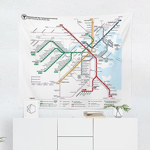 Amazon.com: Boston MBTA Subway Train Map Tapestry - Massachusetts ...