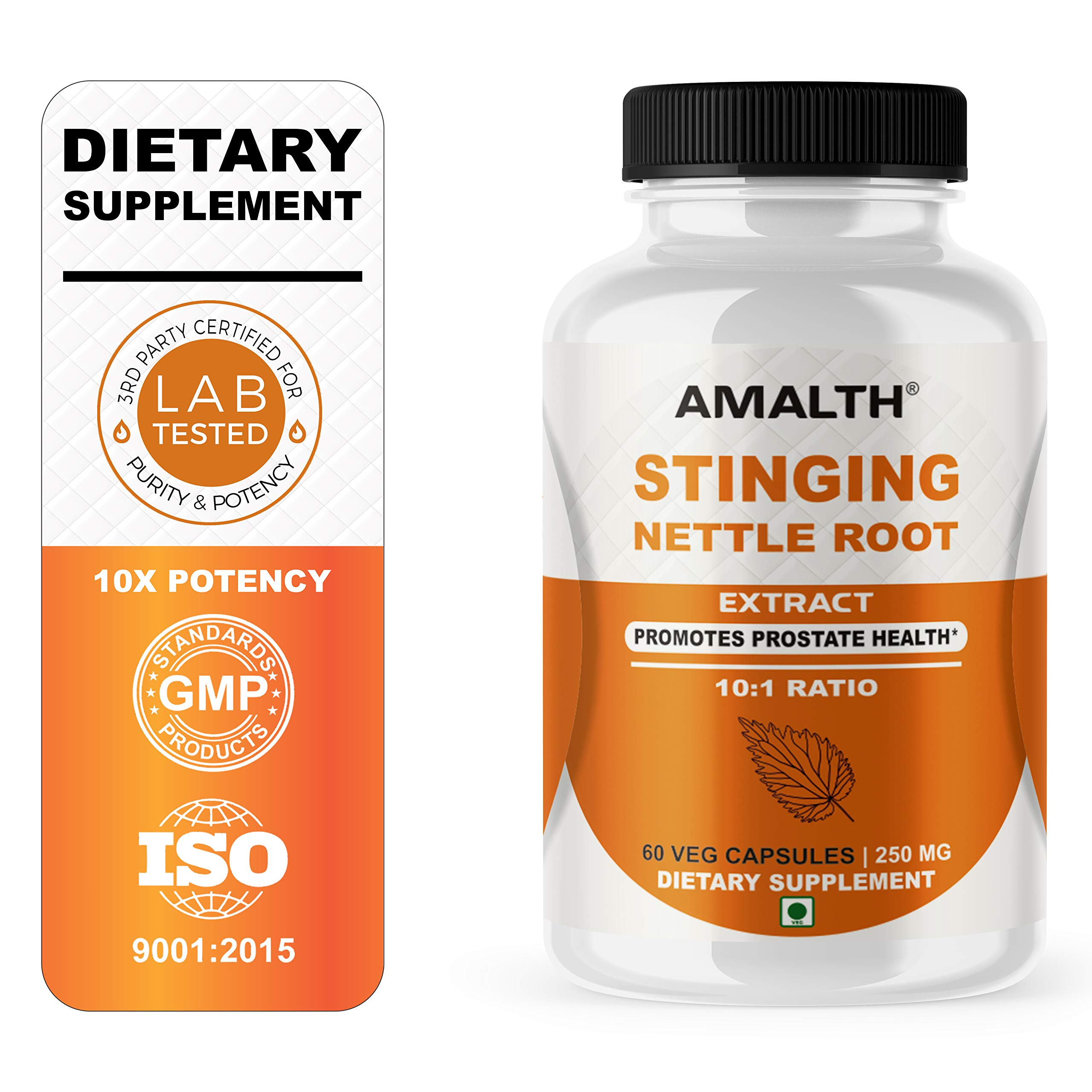 Stinging Nettle Root Extract with Utrica Dioca 250 mg Capsules for Promotes Prodtste Men's Health| AMALTH