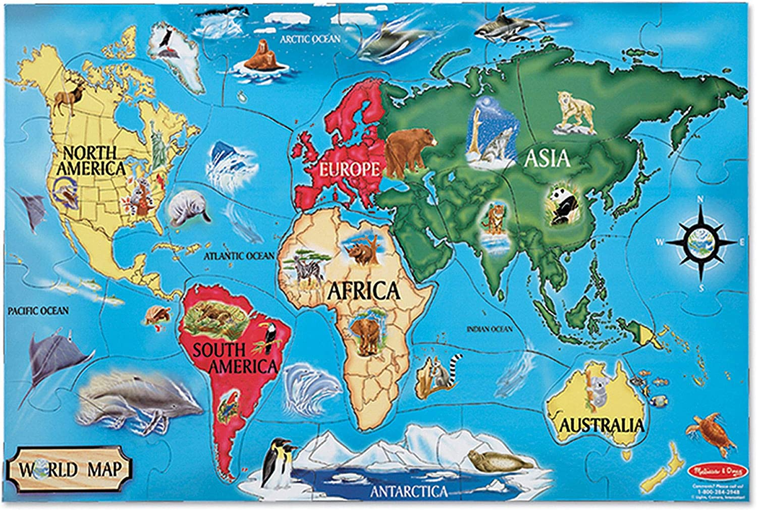 Melissa & Doug World Map Floor Puzzle - 33 Pcs