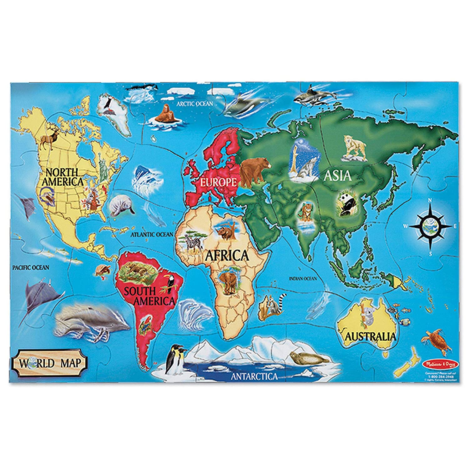 Amazon Com Melissa Doug World Map Jumbo Jigsaw Floor Puzzle Wipe