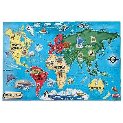 Amazon.com: Melissa & Doug World Map Jumbo Jigsaw Floor Puzzle, Wipe ...