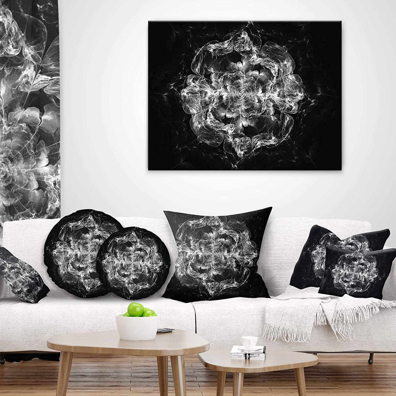 Designart CU8699-16-16-C Fractal Silver Flower Explosion Floral Round Cushion Cover for Living Room Sofa Throw Pillow 16 Insert Printed On Both Side