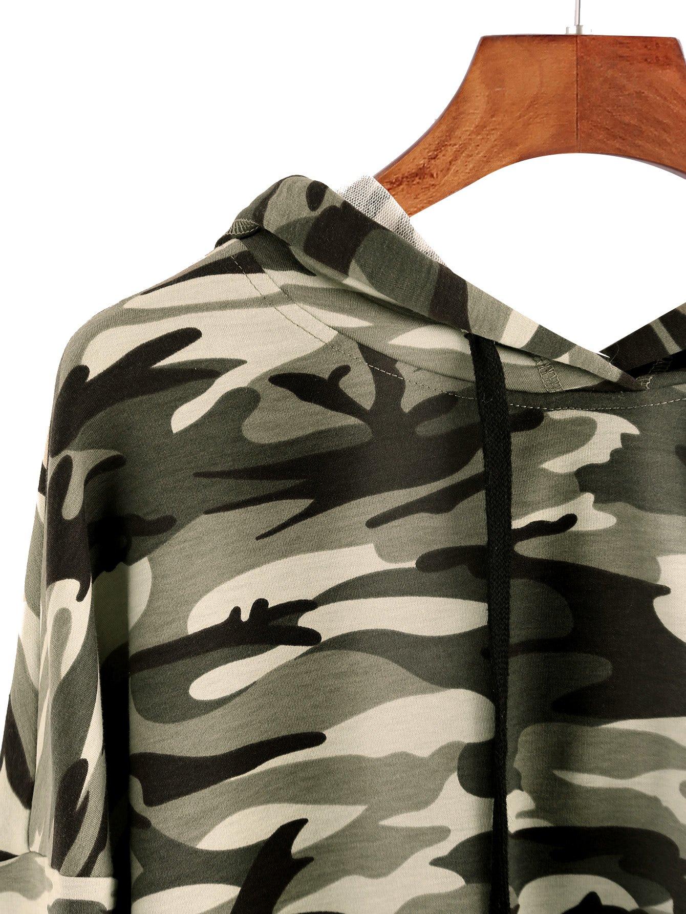 MAKEMECHIC Women's Long Sleeve Casual Printed Sweatshirt Crop Top Hoodies