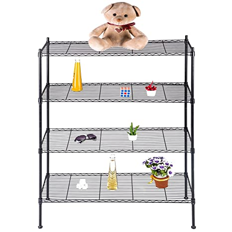 suncoo wire shelving unit storage rack metal kitchen shelf stainless steel adjustable 4 tier shelves black - Metal Kitchen Shelves
