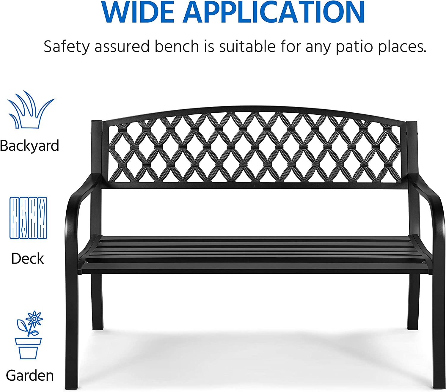 Work Deck Black Entryway Clearance Yaheetech Garden Bench Patio Park Bench Backyard Path Outdoor Yard Furniture with Mesh Pattern and Armrests for Lawn Cast Iron Steel Frame Porch Bench