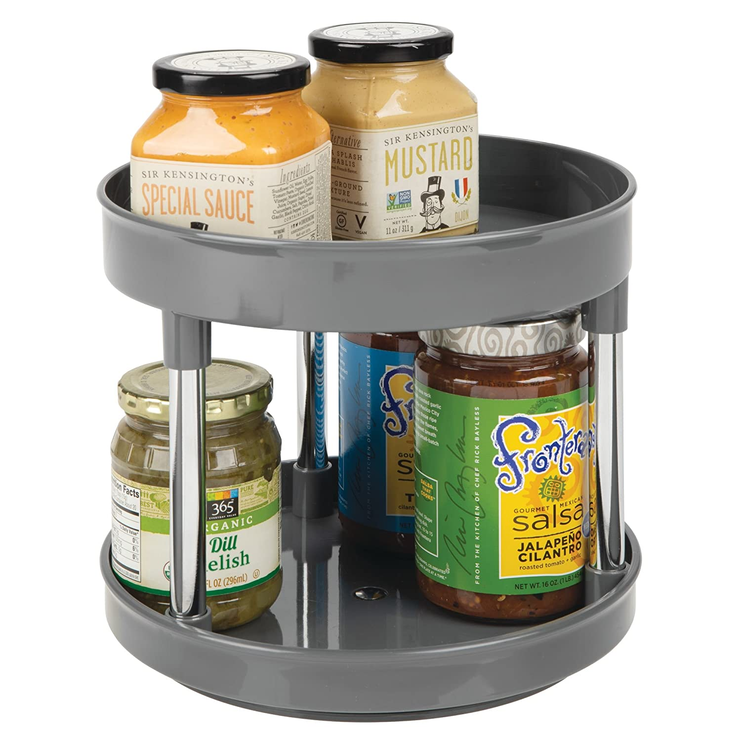 "mDesign 2 Tier Lazy Susan Turntable Food Storage Container for Cabinets, Pantry, Fridge, Countertops - Spinning Organizer for Spices, Condiments - 9"" Round - Charcoal Gray/Chrome"