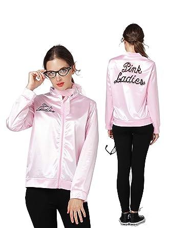 253187463c 50S Grease T-Bird Danny Rhinestone Pink Ladies Satin Jacket Costume Scarf ( Pink