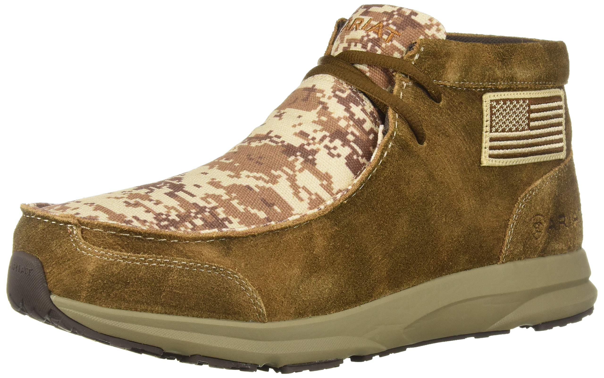 Ariat Men's Spitfire Patriot Western Boot, Antique Mocha Washed Suede/Sand camo, 9.5D